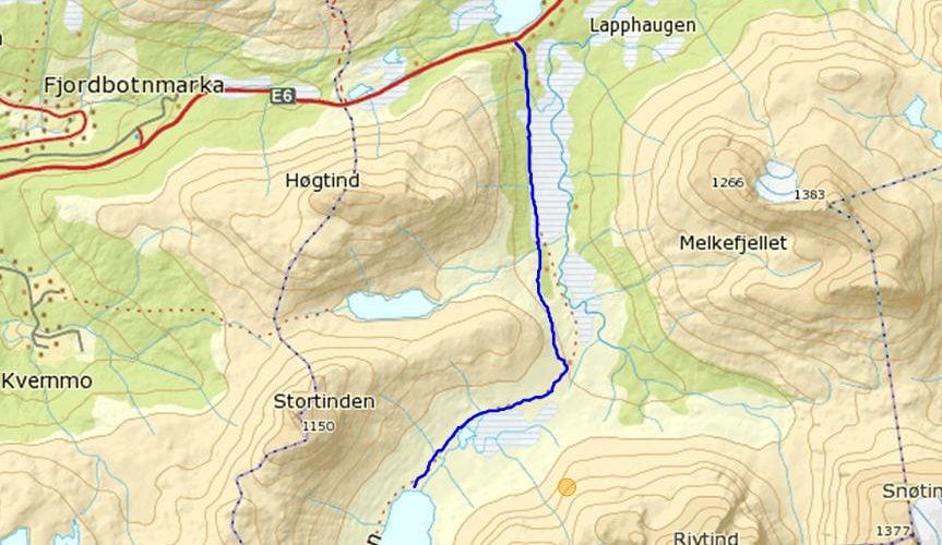Turkart med løypa fra Lapphaugvannet til Gressdalshytta
