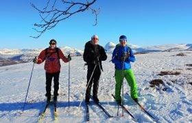 Tre skiløpere